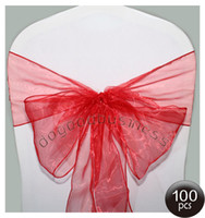 Wholesale 100PCS red Organza Chair Sashes Bow Cover Banquet wedding party decorations