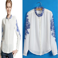 Wholesale 120733 NEW ARRIVAL FASHION STYLE PRINT BLUN AND WHITE PORCELAIN WOMEN S BLOUSE BEAUTIFUL GEORGETTE BLOUSE