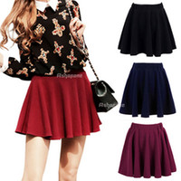 Wholesale Sexy Hot Womens Stretch Waist Pleated Jersey Plain Skater Flared Mini Skirt colors in choice
