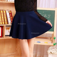 Wholesale Sexy Hot Womens Stretch Waist Pleated Jersey Plain Skater Flared Mini Skirt colors in choice ax72
