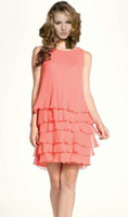 Sheath/Column Modern Ruffle 2013 New Jewel Neckline Short Tiered Ruffle Coral Party Gowns Short Chiffon Column Cocktail Dresses