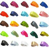 Wholesale 10pcs New Mens Plain Slim Necktie Skinny Solid Color Satin Tie cm Wedding Ties Colors