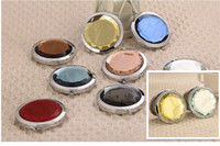 Wholesale Stainless steel folding mini crystal face Cosmetic Compact Mirror Crystal Magnifying Make Up Mirror
