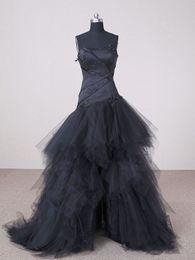 Garden Black Wedding Dresses Hi-Lo A Line Strapless Appliques Front Short And Long Back Tulle Bridal Gown