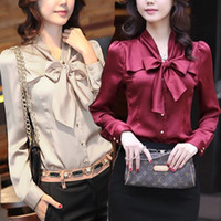 Long Sleeve   hot sale fashion blouse women long sleeve blouses silk like size S M L XL XXL XXXL bow delivery fast