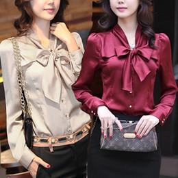 Wholesale hot sale fashion blouse women long sleeve blouses silk like size S M L XL XXL XXXL bow delivery fast