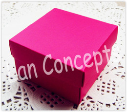 DIY Folded Cardboard Wedding Candy Box Party Favors Packageing - 6.5x6.5x3.8cm 120pcs lot LWB0242 red free shipping