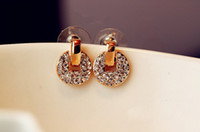 Wholesale European Style Unique Stud Earrings Full Diamond Copper Cash Disc Circle Ear Nail Women s Earring