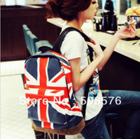 Wholesale Unisex Canvas Handbag teenager School bag Book Campus Backpack bags UK US Flag retail