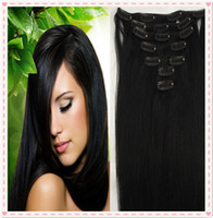 Wholesale 7A Grade Brazilian Virgin Remy Clips In Human Hair Extensions set Full Head Natural Black