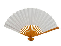 Wholesale Blank White Paper Folding Hand Fans Students Child DIY Fine Art Painting Practice Programs Fan quot