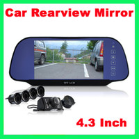 Wholesale Car Reversing Set Rearview Camera Parking Sensors Rearview Mirror Drop shiping Xmas
