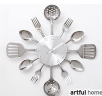 Wholesale 2015 Hot Sale The wall Decoration quartz wall clock Knife Fork Spoon Originality clock Kitchen Restaurant