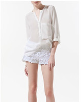 Wholesale Hot new chiffon long steeve blouse solid color lepel loose colorful lady women v neck blouses color