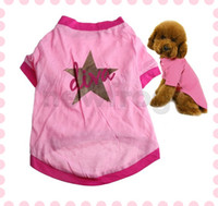 Wholesale A Star Pet Apparel Dress Puppy Pet Dogs Cotton Printed Clothes T Shirt Pink