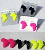 Wholesale 2013 new map of Africa earrings Fluorescent earrings pairs Nightclub earrings