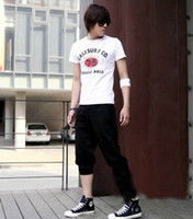 Wholesale Hottest Casual Sport Men s Pants Summer Cotton Black Red Non ironing Processing GYH