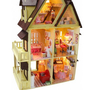 Wholesale Big Size Kids Educational Assembly House Toy DIY My little House With Lamps Novelty Villa