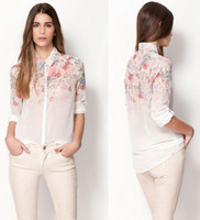 Wholesale NEW FASHION EURO STYLE FLOWER PRINT TURN DOWN COLLAR WHITE CHIFFON BLOUSE ELEGANT CASUAL LONG SLEEVE