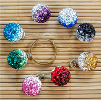Wholesale 10mm gradient Color Ball Pave Crystal Rhinestone Spacer Bead DIY Half Drilled Loose Beads for Studs