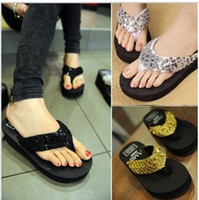 Wholesale Fashion Lady Outdoor Sandals Sequin Platform Flip Flops Slippers Shoes Casual Colors