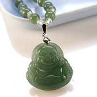 Charms   Old pit jade jade A cargo oil seed jade Buddha maitreya pendant with jade beads necklace