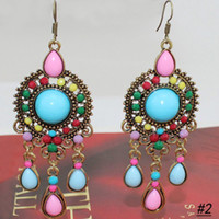 Wholesale European Vintage Bohemian Earrings Colorful Beads Dangle Earrings E159