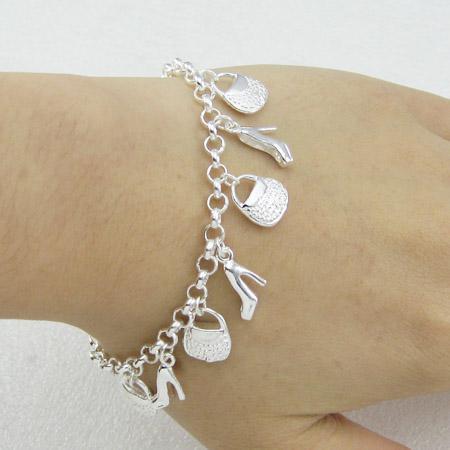 Silver charm bracelet for girls silver 10 charm bracelets