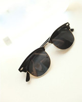 Wholesale 2013 new neutral glasses retro sunglasses rivet half box beach sunglasses