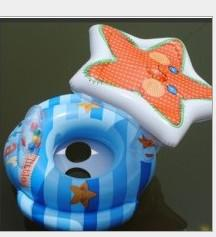 Wholesale free ship Inflatable Blue Starfish Boat Kid s Round Swim Ring Baby Float Car Seat lot56582