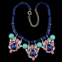 Wholesale Colorful acrylic stone exaggerated necklace Choker Clavicle Necklace False Collar Sweater Chain