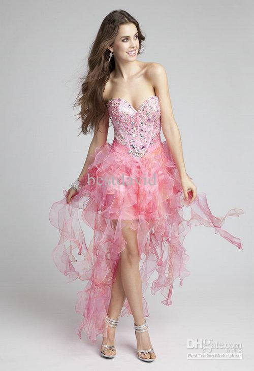 Cheap Sweetheart Crystal High Low Prom Dress 2013 Organza Beaded ...