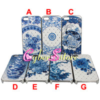 Wholesale 200pcs Chinese Style Blue White Porcelain Diamond flower Bling Hard PC Case Cover For iphone G