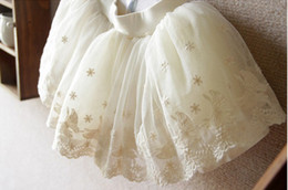 Wholesale Floral girl TUTU skirt gauze lace veil off white skirt skirts princess dress Puff skirt
