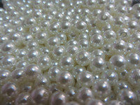 Wholesale hot sell white color loose plastic two hole faux pearl beads mm