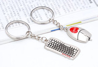 Wholesale zinc alloy toy Keyboard Lover Key Chain mouse key ring wedding present promotion gift valentine souvenir