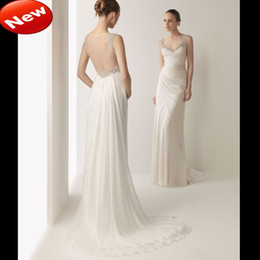 Wholesale New V Neck Sheath Chiffon Ruffle Beaded Sequin See Through Back Floor Length Evening Wedding Dress