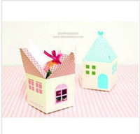 Wholesale 50pcs house shape paper cupcake box cookie gift box biscuit candy macaron cake cases