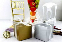 Wholesale 2013 sliver golden mix chair pc charm Shower Favor Candy Boxes Wedding Party Gift