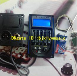 Wholesale Acoustic Guitar Preamp Band EQ Equalizer Pickup Bass Tuner Control Output Black Digital LCD