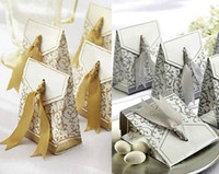 Wholesale hot sliver golden Gorgeous ribbon pc charm Shower Favor Candy Boxes Wedding Party Gift