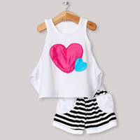Wholesale 2013 New Child Clothing Set White Printed Tshirt and Pants For Children Summer Clothin