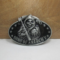 Wholesale Fashion SONS OF ANARCH belt buckle with pewter finish FP with continous stock