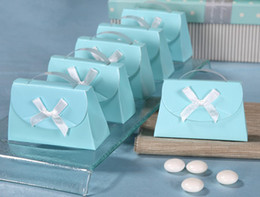 Wholesale hot Tiffany blue purse sharped cute charm Shower Favor Candy Boxes Wedding Party Gift hold bag