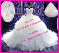 Wholesale Amazing Organza Ruffles Beaded Ball Gown Bridal Wedding Dresses Corset Back W1759