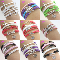 Wholesale Silver Infinity Rudder Anchor charms leather Suede Wrap bracelet Mixed Chain NEW