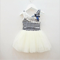 Wholesale 2013 Summer new girls dresses girl tutu dress baby clothing Striped kids cotton lace dress APR106