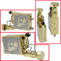 Wholesale Skull Pattern Golden Rotary Tattoo Machine Gun For Shader Liner Tattoo Needle Ink Cups Tip Kits