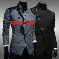 Wholesale 2pcs Fashion suit silm coats Mens casual Stunning slim fit Men s Jacket Blazer Short Coat one Bu