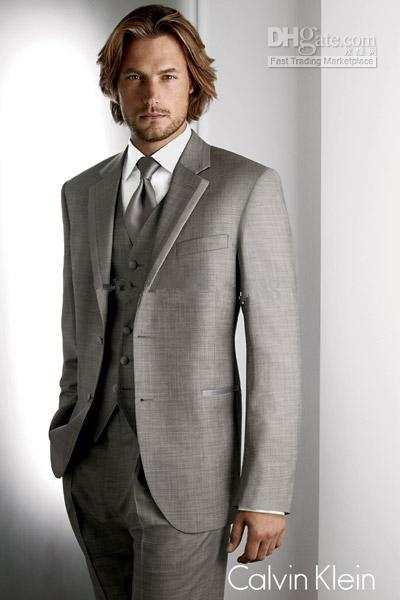 New Grey Groom Tuxedos Best Man Suit Wedding Groomsman Men Suits